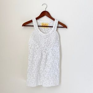 Free People•White Printed Sheer Tank
